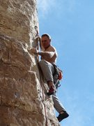 Rock Climbing Photo: Steve Davis skillfully negotiating the arete.