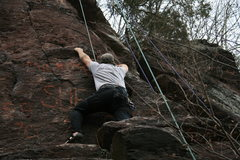 Rock Climbing Photo: var. to right of crux. I think it mellows this cli...