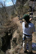 Rock Climbing Photo: We choose to set up a back anchor because of narro...