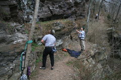Rock Climbing Photo: path near chain reaction belaying on deaf and dumb