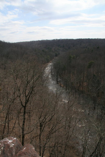 View from top of Chain Reaction Buttress. With dam release March 21st weekend.
