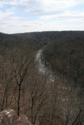 Rock Climbing Photo: View from top of Chain Reaction Buttress. With dam...