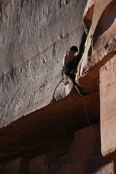 Rock Climbing Photo: he got it.