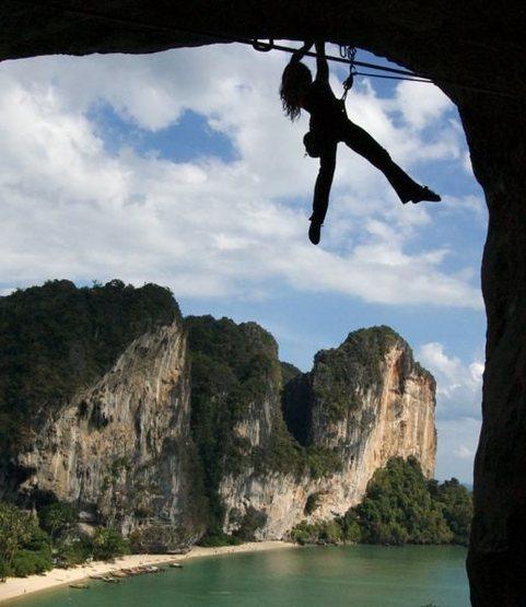 Rock Climbing Photo: That's me in Tonsai, Thailand hanging onto a jug o...