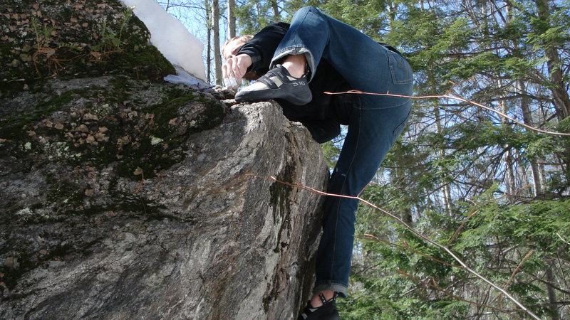 Rock Climbing Photo: Topping out on unknown problem