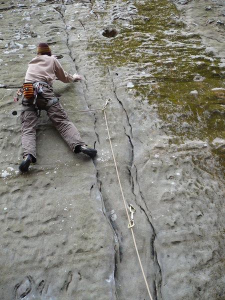 "Rock Climbing Photo: John K leading ""Through the Smoke"""