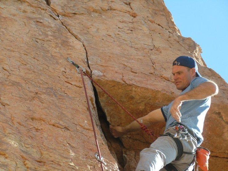 Rock Climbing Photo: Steve Davis under the roof.
