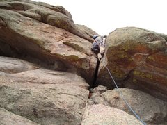 Rock Climbing Photo: Mike W. leading our P4 on SchoolDaze.  Blue line i...