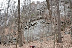 Rock Climbing Photo: White Wall (the lowest big wall in the pic)