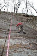 Rock Climbing Photo: Jeff top roping Think Pink