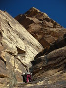 Rock Climbing Photo: Larry leads up the second pitch.  This pitch had s...