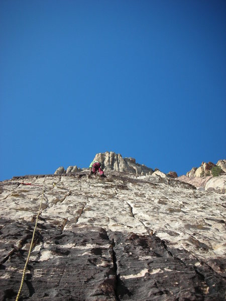 Rock Climbing Photo: Sunset Slab direct variation.  Instead of belaying...