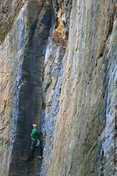 Rock Climbing Photo: In this picture im at the top of the easy stuff an...