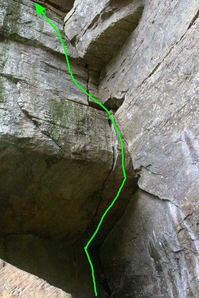 this shows the line... a burly 30ft of climbing...