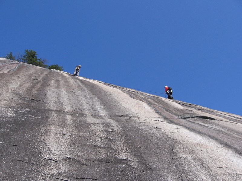 Rock Climbing Photo: A pair of climbers finish P4 of Grand Funk Railroa...