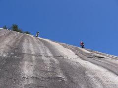 Rock Climbing Photo: A pair of climbers finish P4 of Grand Funk Railroa...