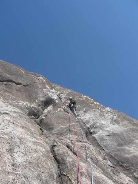 Rock Climbing Photo: Ryan at the good stance a few moves below the P6 c...