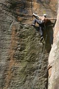 Rock Climbing Photo: Making the move from Crusing Lane on to the ledge ...