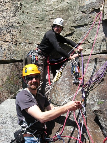 Ben Lyon and Ryan Howa at the gear belay at the top of P2