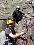 Rock Climbing Photo: Ben Lyon and Ryan Howa at the gear belay at the to...