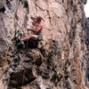 Josh Smith on the First Ascent at the crux of Cyclops.