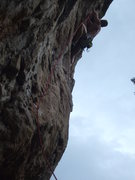 Rock Climbing Photo: Showing the steepness of Cyclops. Josh on the FA.