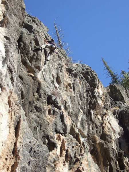 Dr. Dave Mills sussing out the crux, trying to find the Hamburger Helper.