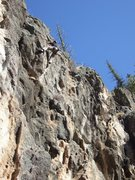 Rock Climbing Photo: Dr. Dave Mills sussing out the crux, trying to fin...