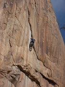 Rock Climbing Photo: Seth on Thunderstruck. Pitch one - 5.12.