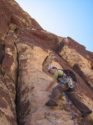 Rock Climbing Photo: Tiffany heading up the broken cracks at the start ...