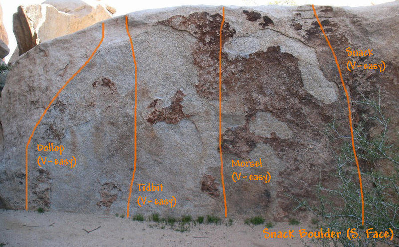 Photo/topo for the Snack Boulder (South Face), Joshua Tree NP