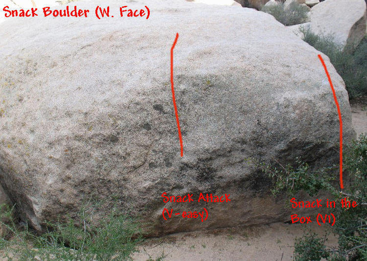 Photo/topo for the Snack Boulder (West Face), Joshua Tree. <br>