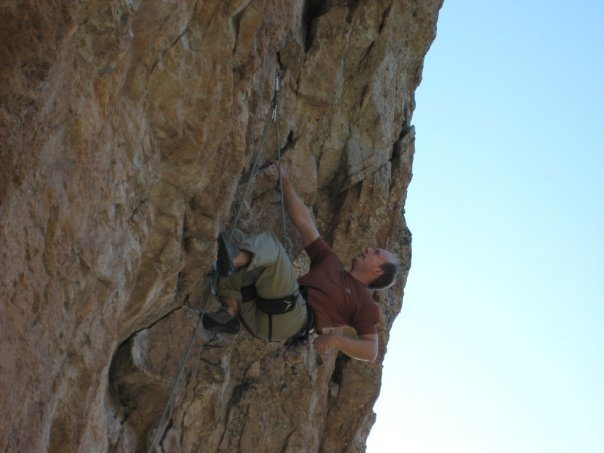 Shaking out at a good rest on The Breeze, 5.11c, before launching into the redpoint crux.  Mount Lemmon, AZ.