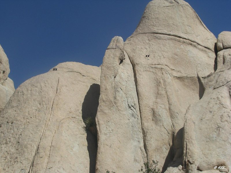 Belay/rap bolts for unknown routes to the right of Thrutcher Dome