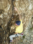 Rock Climbing Photo: Rope digging just past the middle bulge.  I'm gonn...