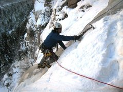 Rock Climbing Photo: Matt tip toeing up thin and narrow ice on a cold f...