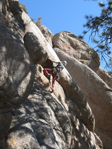 The second crux is the overhang.<br> <br> Photo by Kenny Parker.