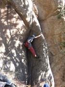Rock Climbing Photo: The first crux is the initial corner, all the way ...