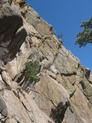 Rock Climbing Photo: Moving out this corner on P1 is intimidating and a...
