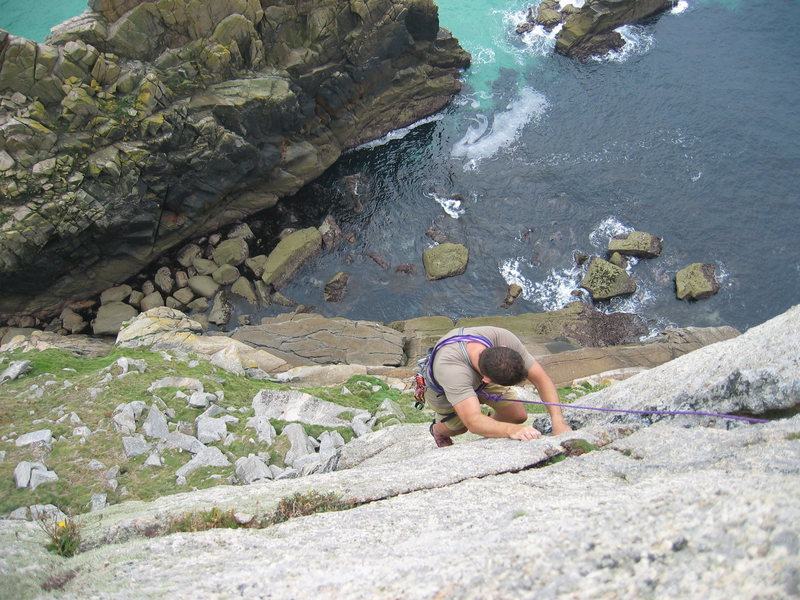 Neil following up an easy and fun route on Bosigran in Cornwall
