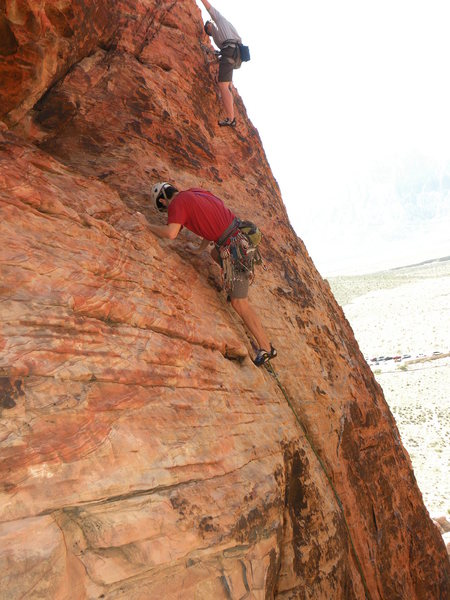 Past the crux, about to head right to fixed anchor.