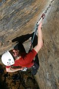 Rock Climbing Photo: James Otey on the perplexing finish of Rites of Pa...