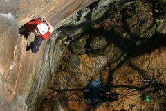 Rock Climbing Photo: James Otey on the perfect hands start of Rites...