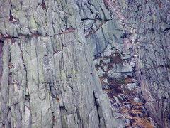 Rock Climbing Photo: Climber on Hand crack above flake. Belayer on gras...