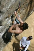 Rock Climbing Photo: Emile with the french blow... The Don on belay...
