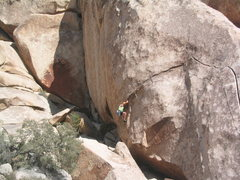 Rock Climbing Photo: At the finish crux.  Trying to fiddle in a last pi...