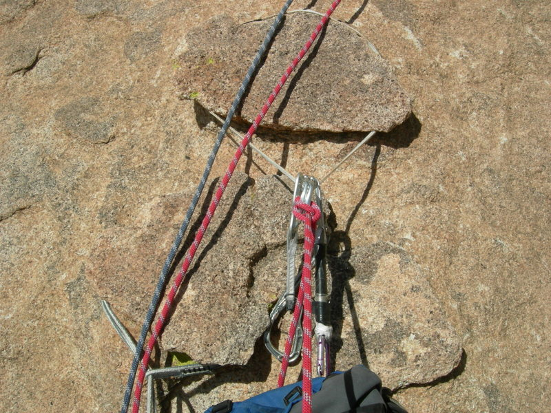 "Chickenhead belay. 3rd pitch, Moby Dick. West Stronghold, AZ.  These ""heads"" are the remnants of a once-larger area of case hardening.   Nearby  photos show other stages of  case-hardening and weathering processes on this rock."