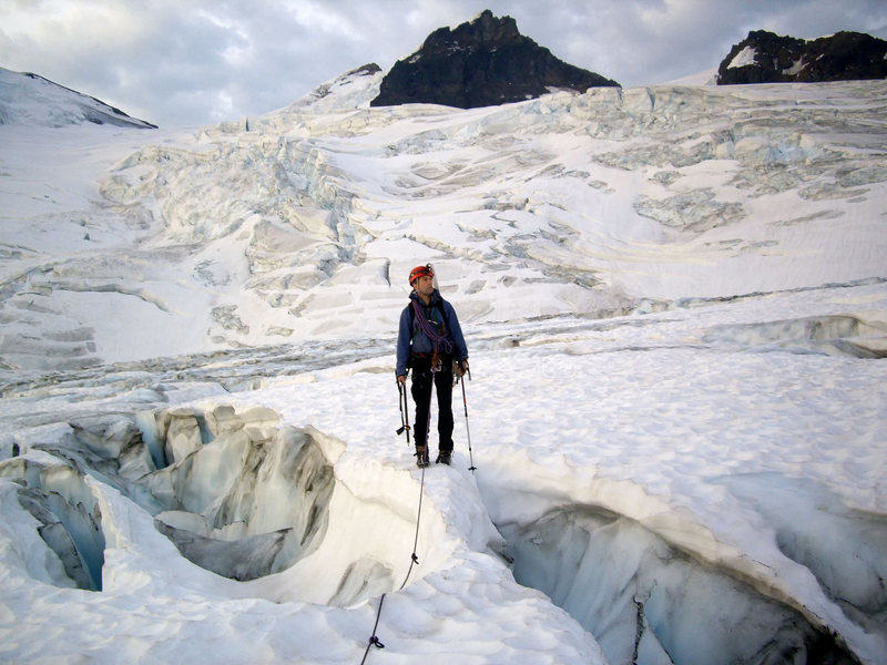 Rock Climbing Photo: Pat M. during the approach across Coleman Glacier....