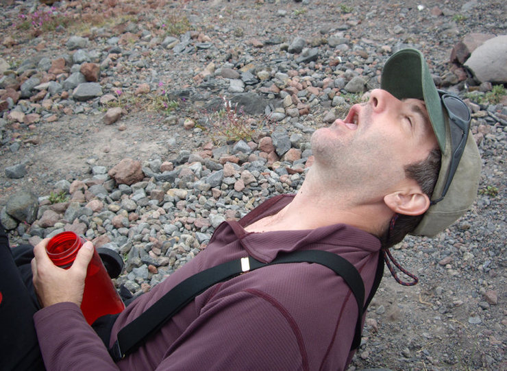 Rock Climbing Photo: Pat M. after the approach across Coleman Glacier (...