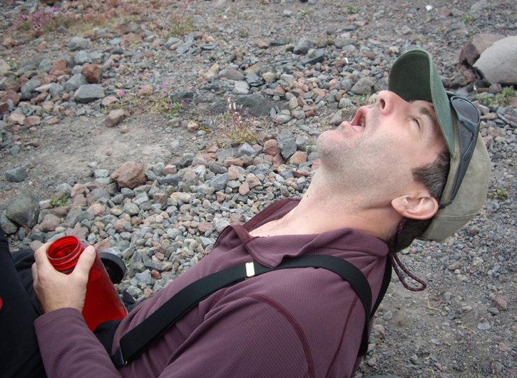 Pat M. after the approach across Coleman Glacier (and few cognac shots).